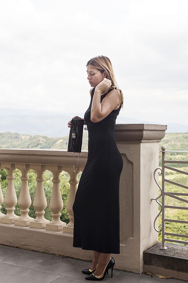 Cristina Lodi, villa la borghetta, abito lungo Isa Belle, scarpe sergio levantesi, borsa loriblu, 2 fashion sisters, fashion blogger italia