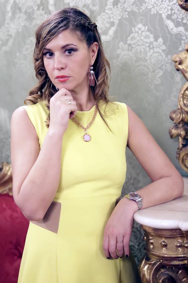 Cristina Lodi, abitoChristies, abito giallo, rolex
