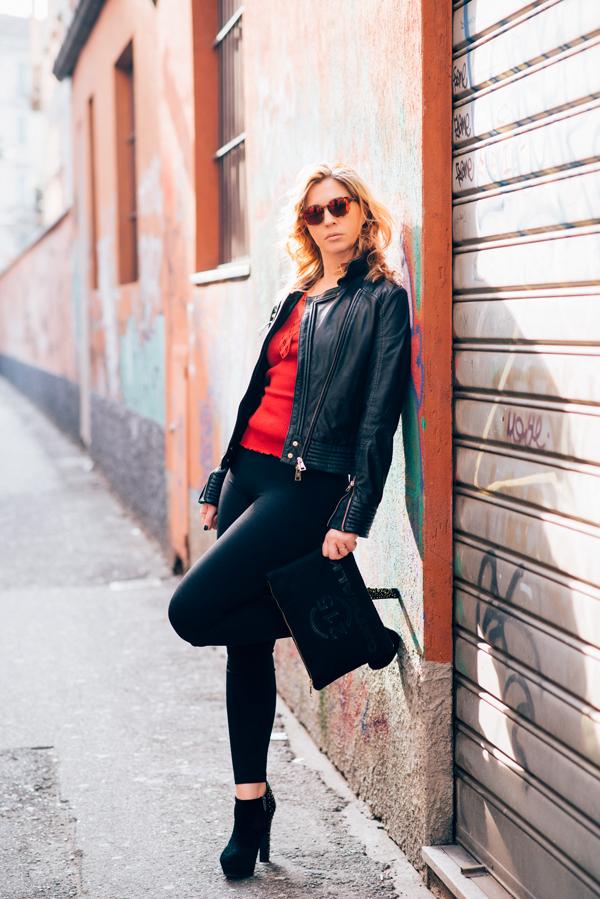 Cristina Lodi, 2 fashion sisters, leggings nero janira, oscalito, giubbotto cristinaeffe