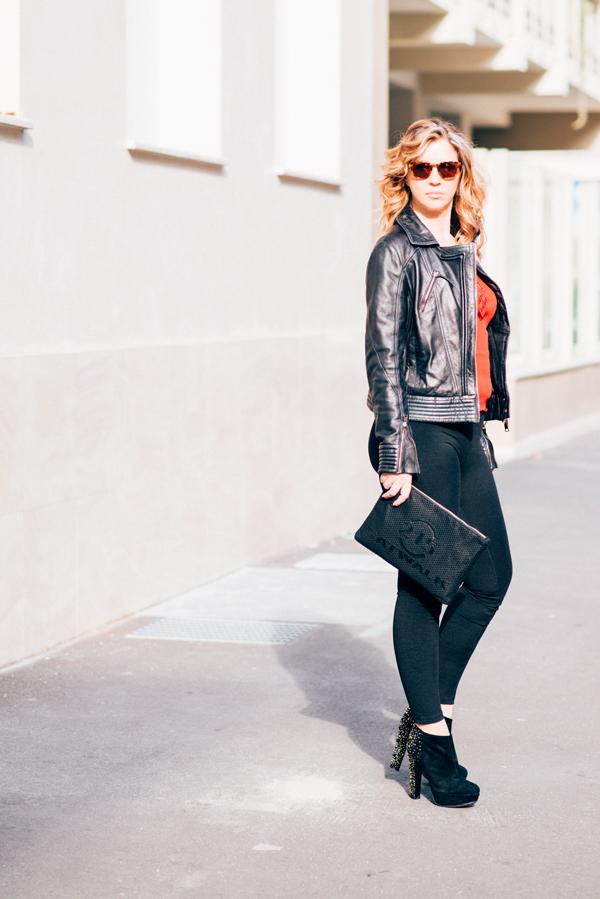 Cristina Lodi, 2 fashion sisters,top oscalito leggings janira, giubbotto cristinaeffe