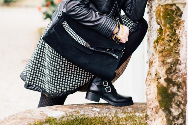 Cristina Lodi, abito CristinaEffe, borsa Loriblu, boots Luciano Barachini, bracciale t'incateno