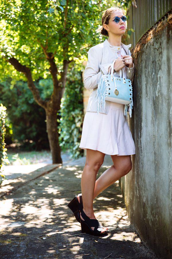 Cristina Lodi, vestito rosa, giubbotto pelle, giubbotto rosa, eyepetizer